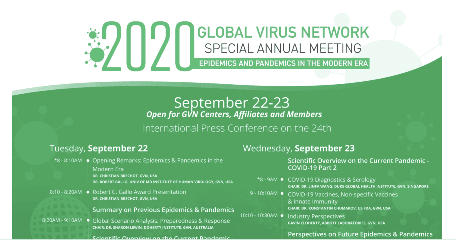 2020 GVN Special Annual Meeting: Epidemics & Pandemics in the Modern Era 1