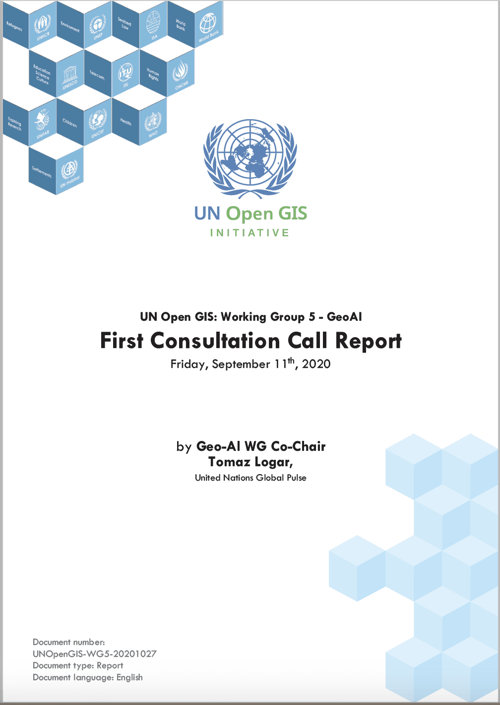 UN Open GIS: Geo-AI Working Group. First Consultation Call Report. 5