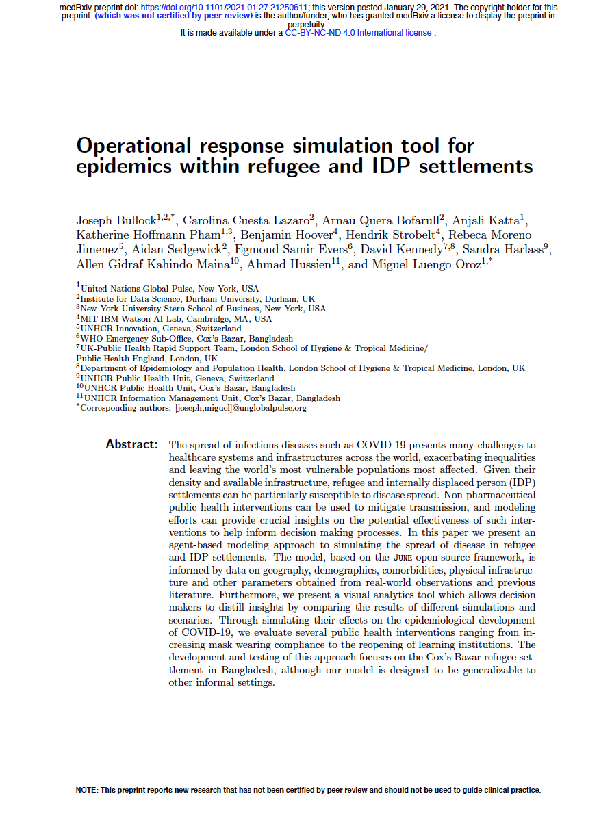 Operational response simulation tool for epidemics within refugee and IDP settlements 9