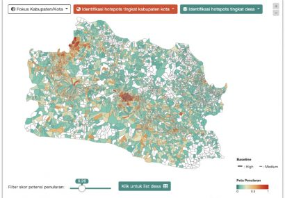 An interactive visualisation map developed by Pulse Lab Jakarta in collaboration with Bappenas and the West Java Government showing areas of West Java that might have a higher risk for COVID-19 spread.