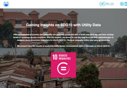 Screenshot of microsite called Gaining Insights on SDG10 with Utility Data